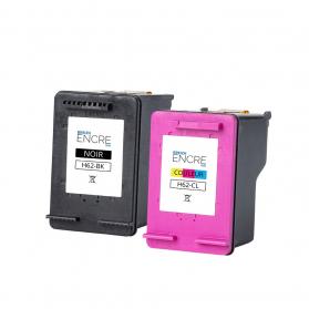 Pack HP 62 - Noir et couleurs remanufacturé