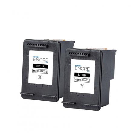 Pack HP 301 XL x2 - Noir remanufacturé