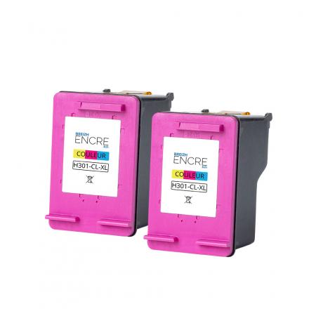 Pack HP 301 XL x2 - 3 couleurs remanufacturé