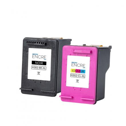 Pack HP 302 XL - Noir et couleurs remanufacturé