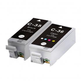 Pack CANON 35/36 - Noir et couleurs compatible