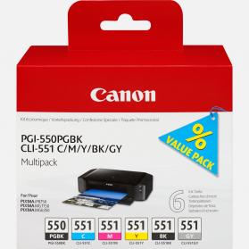 Pack CANON PGI-550/CLI-551 PGBK - 6 cartouches ORIGINE