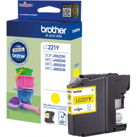 Cartouche BROTHER LC221 - Jaune ORIGINE